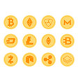 crypto coins icons set vector image vector image