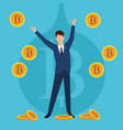 cryptocurrency businessman bitcoin vector image