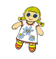 cute doll toy icon cartoon style vector image