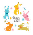 cute multicolored easter bunnies vector image