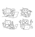 hacker robot set 404 sketch hacking a computer vector image vector image