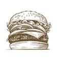 hand drawn hamburger vector image