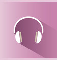 headphones icon on a pink background with shade vector image vector image
