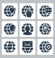 isolated globe icons set vector image