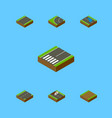isometric road set of repairs footpath down and vector image vector image