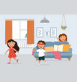 little kids playing hide and seek in living room vector image