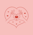 love in trendy line style heart made vector image