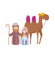 mary joseph and bajesus with camel nativity vector image vector image