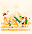 people with indian flags lotus temple postcard vector image vector image