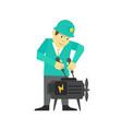 person mechanic repair business man man adjusts vector image vector image
