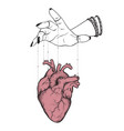 puppet masters hand controls human heart isolated vector image