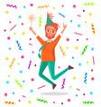 redhead bearded man merrily jump on birthday party vector image vector image