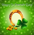 Saint Patrick background with horseshoe vector image