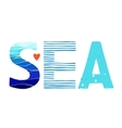Sea Lettering with sea backgrounds vector image