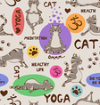 seamless pattern with cat doing yoga position vector image vector image