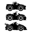 set monsters in racing cars vector image