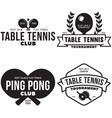 set of ping pong logos emblems and design vector image vector image