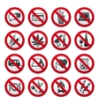 set of prohibited signs vector image vector image
