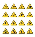 set of triangle road warning signs vector image vector image