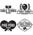 set ping pong logos emblems and design vector image
