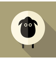 Sheep Flat Icon over Brown vector image vector image