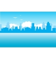 Silhouette of the city on seaside vector image