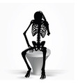 skeleton silhouette in thinking pose vector image vector image