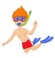 Snorkeling kid cartoon vector image vector image