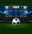 soccer football stadium spotlight and scoreboard vector image vector image