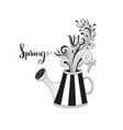 spring greeting card with watering can vector image vector image