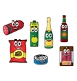 Supermarket groceries colored icons vector image
