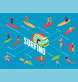 surfing isometric flowchart vector image vector image
