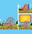 three scenes circus with many rides vector image vector image
