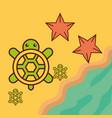 turtles starfish beach sea life cartoon vector image vector image