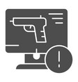 weapon on computer solid icon computer attack vector image vector image