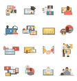 Web collaboration webinar flat icons set vector image