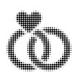 wedding rings halftone dotted icon vector image vector image