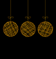 wicker Christmas balls isolated on black vector image
