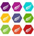 wing icon set color hexahedron vector image vector image