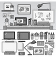 working cabinet with artistic tools line vector image