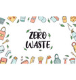 zero waste horizontal banner with hand drawn icons vector image