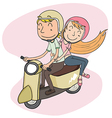couple riding riding scooter vector image