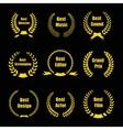Film Awards gold award wreaths on black background vector image