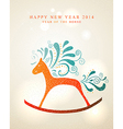 Happy New Year card 2014 Year of Horse vector image
