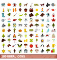 100 rural icons set flat style vector image