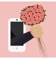 A bouquet of wild flowers with a hand from the vector image vector image