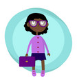 afro american girl wearing eyeglasses with a bag vector image