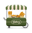 bakery street food cart colorful image vector image vector image