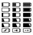 battery flat black icon set vector image