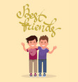 best friends in an embrace funny boys vector image